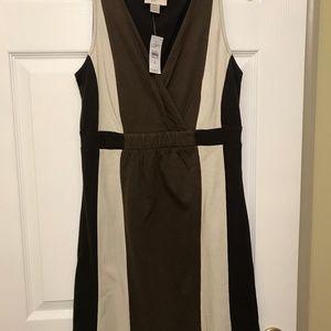 Brown and Cream Jersey Sleeveless Dress
